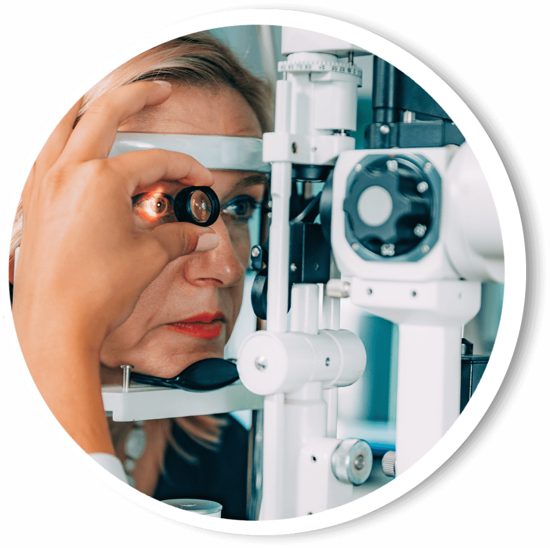 Woman getting her eyes checked