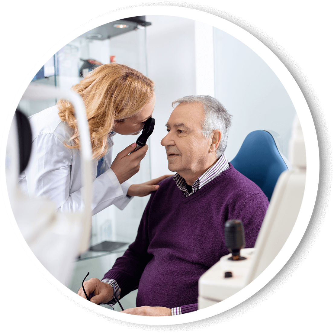 Older man getting his eye checked